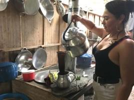 Yemileth making coffee